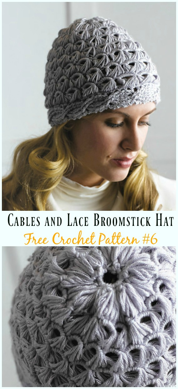 Cables and Lace Broomstick Hat Crochet Free Pattern - #Cabled; Beanie #Hat; Free Crochet Patterns