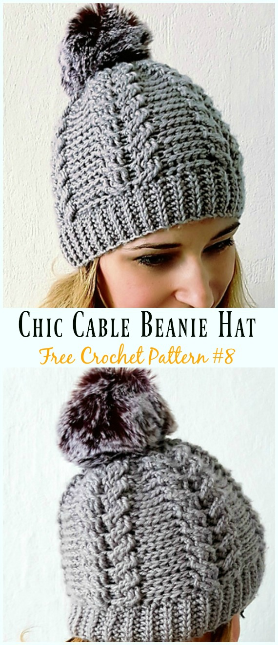 Chic Cable Beanie Hat Crochet Free Pattern - #Cabled; Beanie #Hat; Free Crochet Patterns