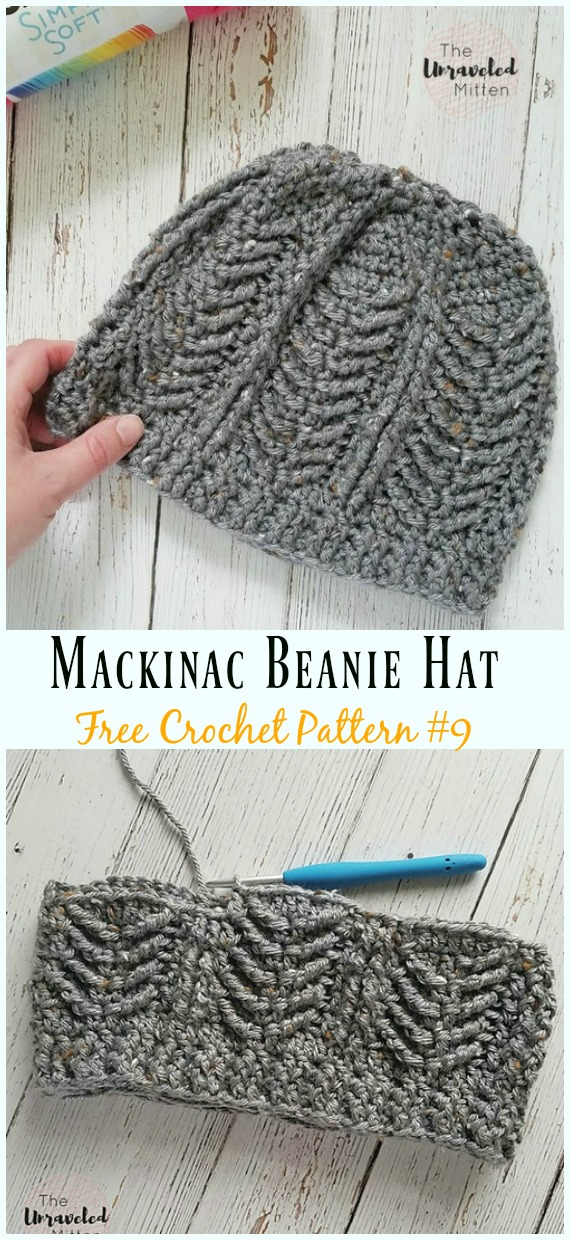 Mackinac Beanie Hat Crochet Free Pattern - #Cabled; Beanie #Hat; Free Crochet Patterns