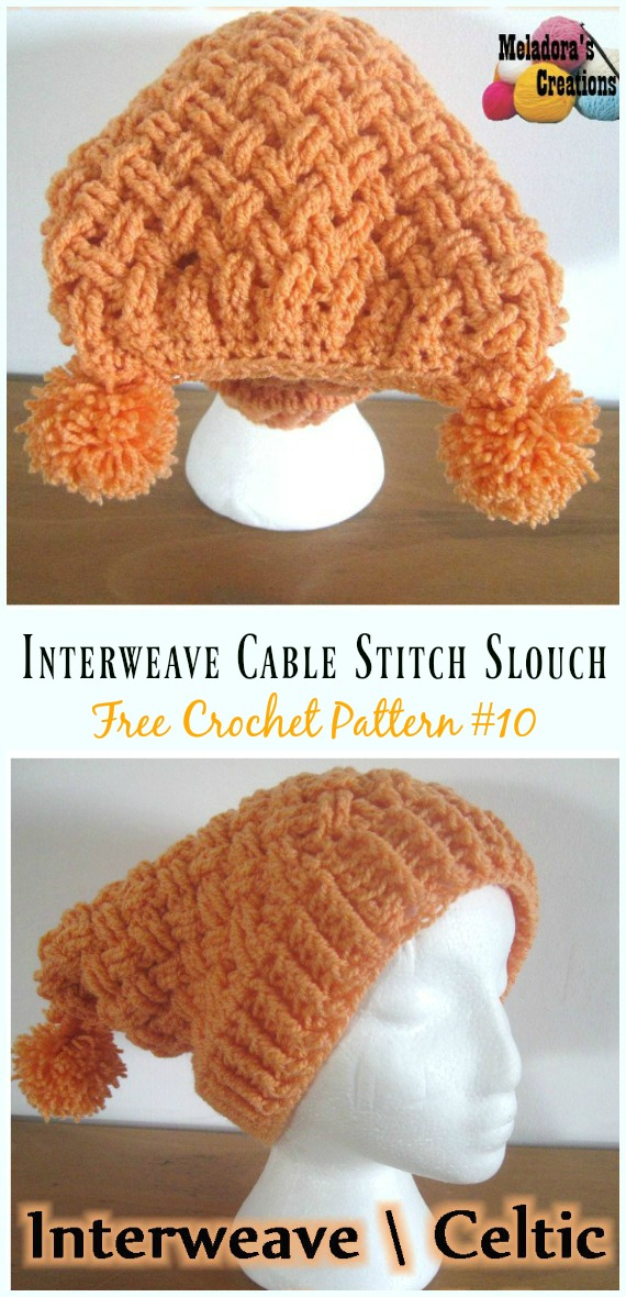 Interweave Cable Stitch Slouch Hat Crochet Free Pattern - #Cabled; Beanie #Hat; Free Crochet Patterns