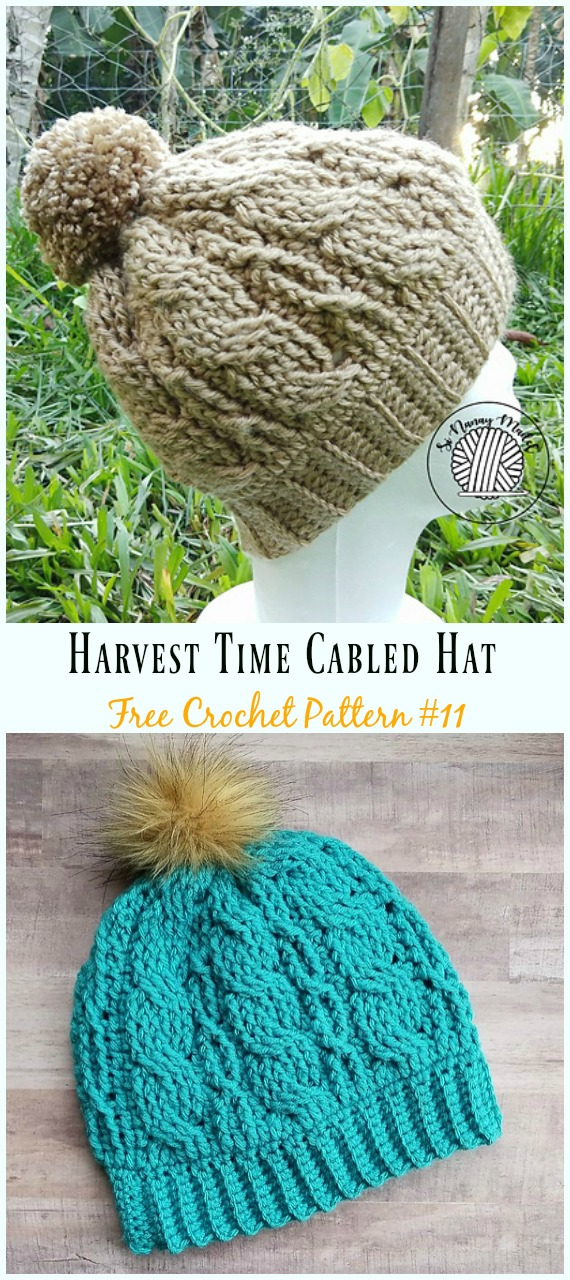 Harvest Time Cabled Hat Crochet Free Pattern - #Cabled; Beanie #Hat; Free Crochet Patterns