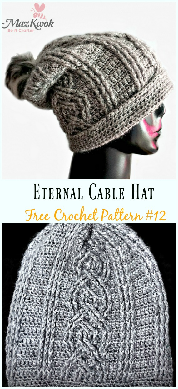 Eternal Cable Hat Crochet Free Pattern - #Cabled; Beanie #Hat; Free Crochet Patterns