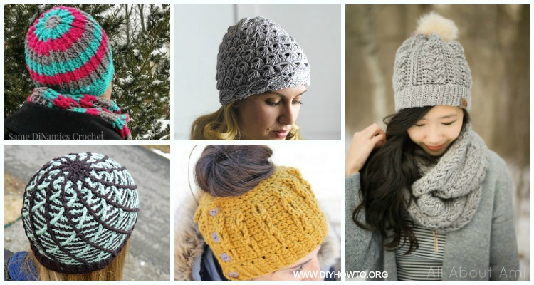434edc104c4 Cabled Beanie Hat Free Crochet Patterns - all sizes
