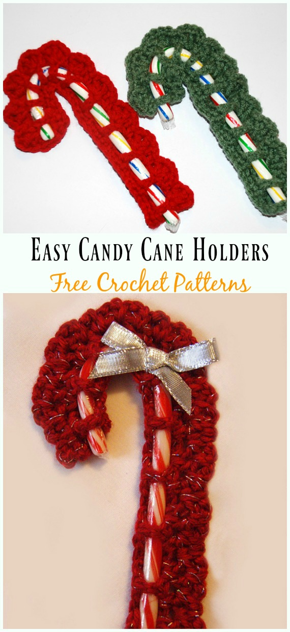 Last Minute Christmas Tree Candy Cane Holders Crochet Free Pattern - #Candy Cane; Cozy #Crochet; Free Patterns