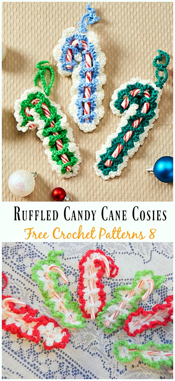Ruffled Candy Cane Cosies Crochet Free Pattern - #Candy Cane; Cozy #Crochet; Free Patterns