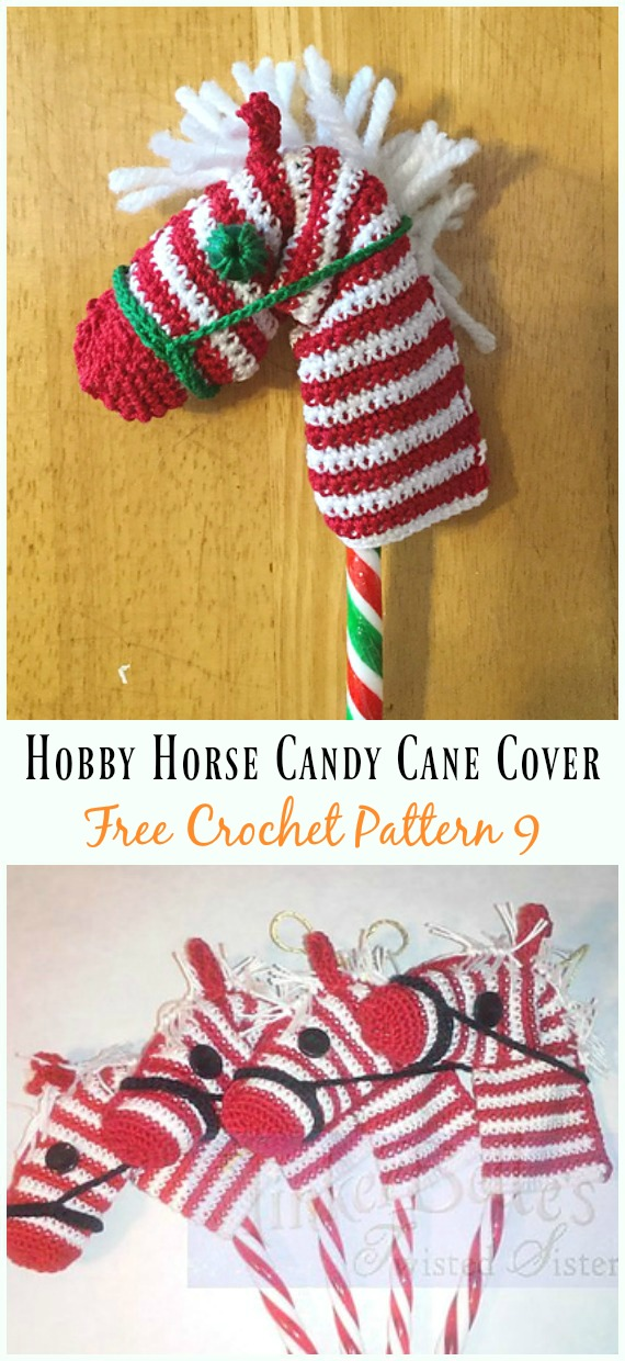 Hobby Horse Candy Cane Cover Crochet Free Pattern - #Candy Cane; Cozy #Crochet; Free Patterns