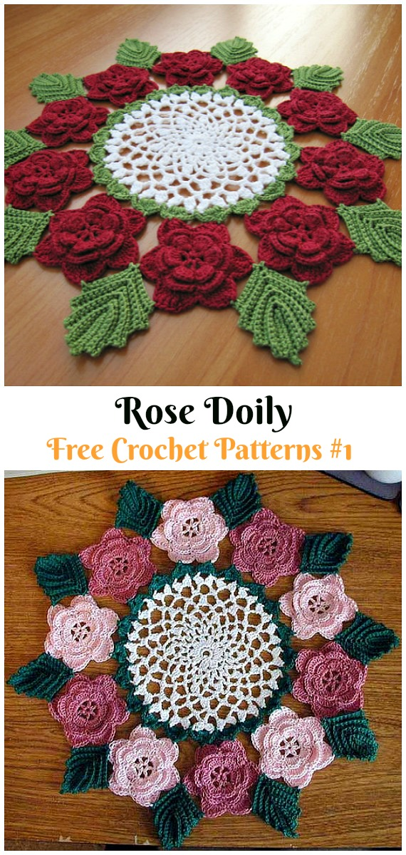 Rose Doily Free Crochet Pattern - #Christmas; #Doily; Crochet Free Patterns