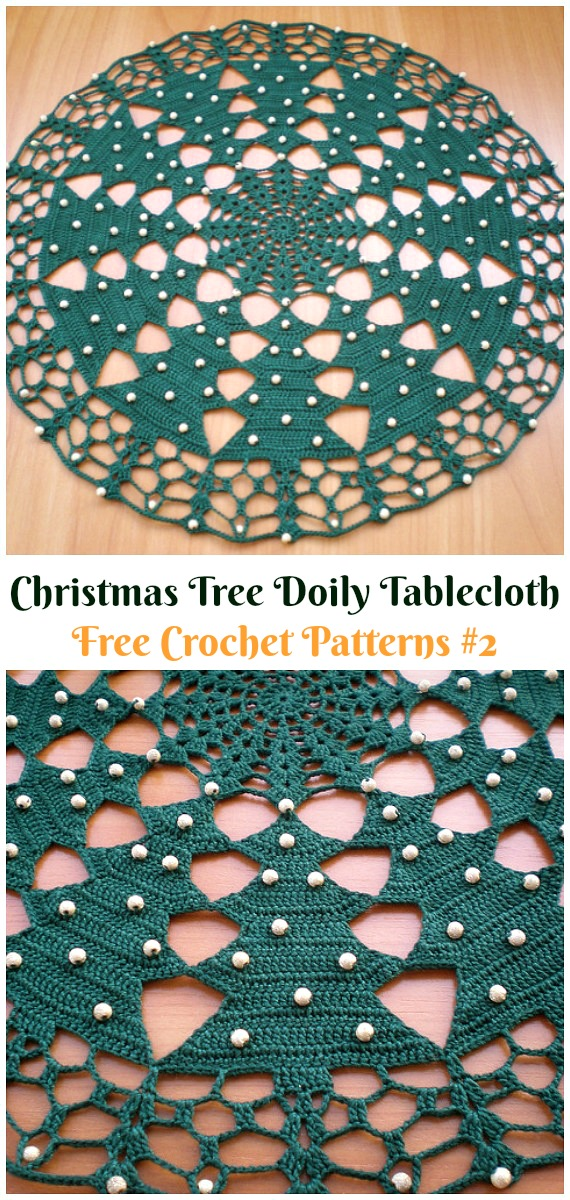 Christmas Tree Doily Tablecloth Free Crochet Pattern - #Christmas; #Doily; Crochet Free Patterns