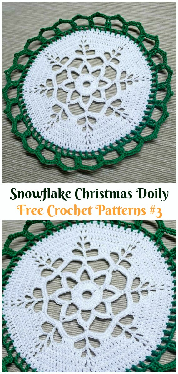 Snowflake Christmas Doily Free Crochet Pattern - #Christmas; #Doily; Crochet Free Patterns