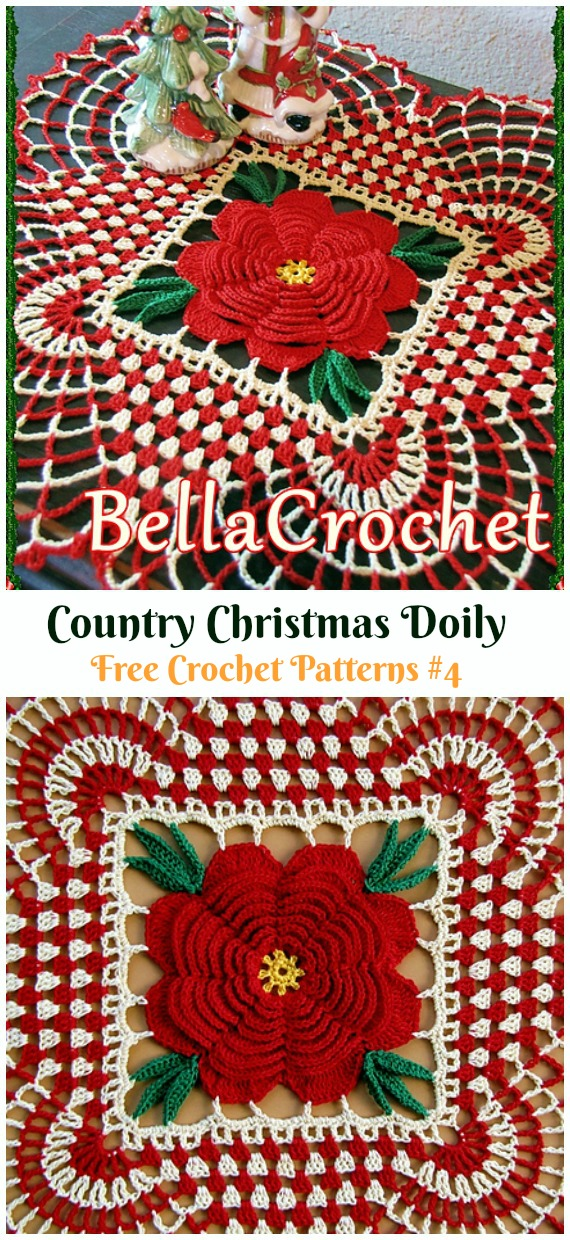 Country Christmas Doily Free Crochet Pattern - #Christmas; #Doily; Crochet Free Patterns