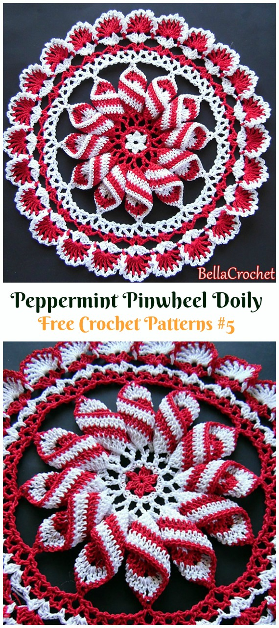 Peppermint Pinwheel Doily Free Crochet Pattern - #Christmas; #Doily; Crochet Free Patterns