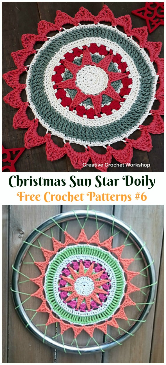 Christmas Sun Star Doily Free Crochet Pattern - #Christmas; #Doily; Crochet Free Patterns