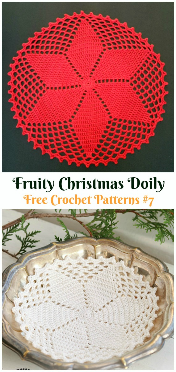 Christmas Doily with Star Free Crochet Pattern - #Christmas; #Doily; Crochet Free Patterns
