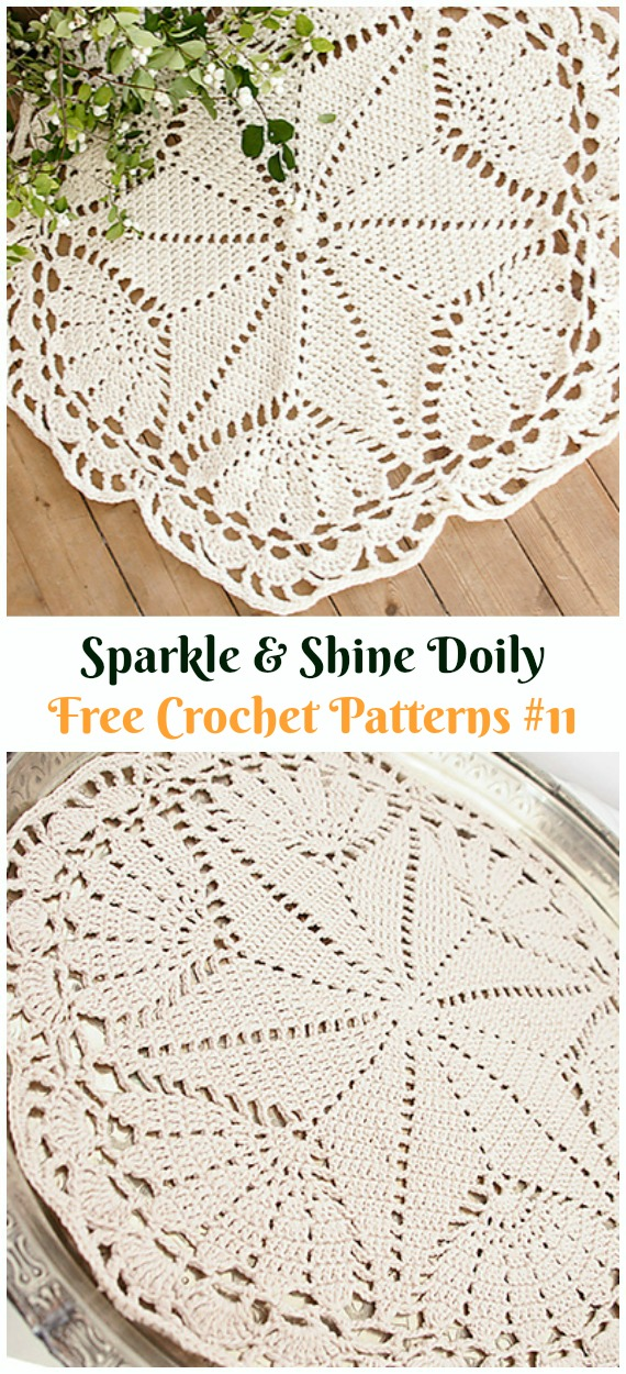 Sparkle & Shine Doily Free Crochet Pattern - #Christmas; #Doily; Crochet Free Patterns
