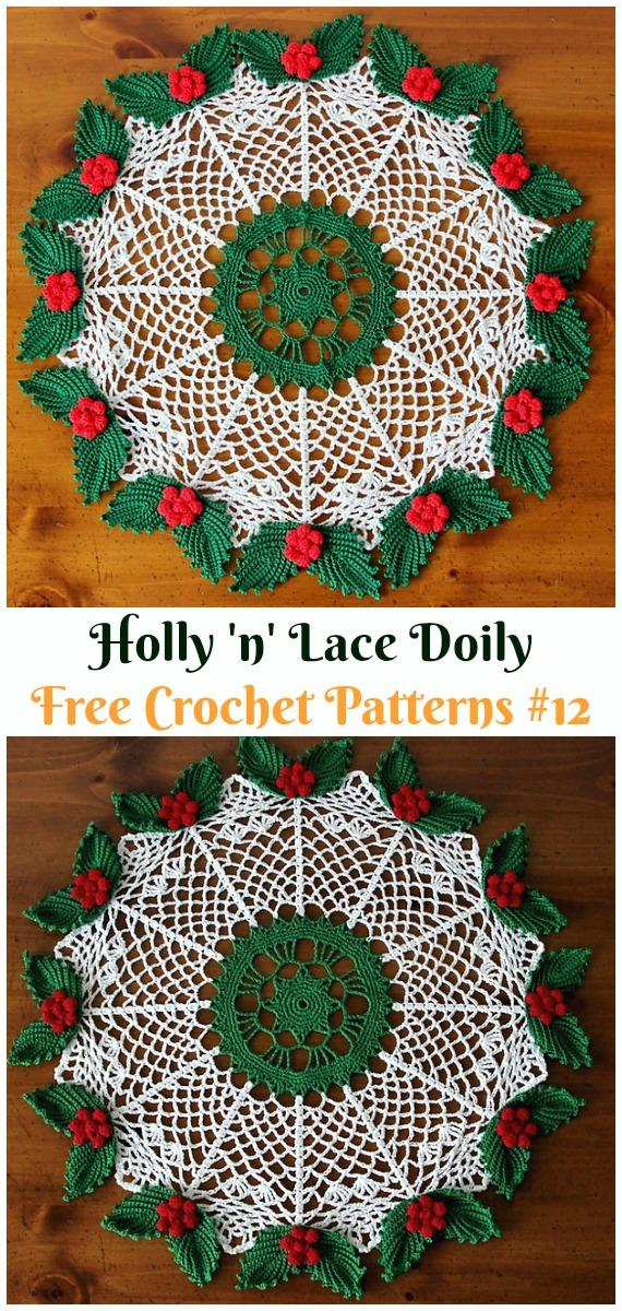 Holly 'n' Lace Doily Free Crochet Pattern - #Christmas; #Doily; Crochet Free Patterns