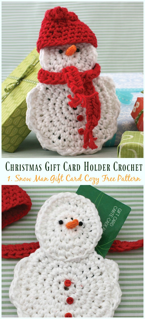 Snow Man Gift Card Cozy Free Crochet Pattern - #Christmas; Gift; #CardHolder; #Crochet; Free Patterns