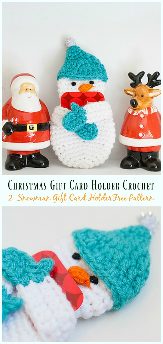 Snowman Gift Card Holder Free Crochet Pattern - #Christmas; Gift; #CardHolder; #Crochet; Free Patterns