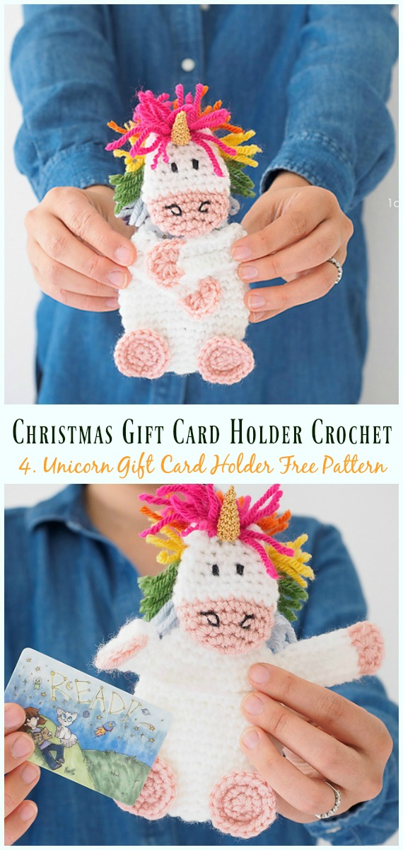 Unicorn Gift Card Holder Free Crochet Pattern - #Christmas; Gift; #CardHolder; #Crochet; Free Patterns
