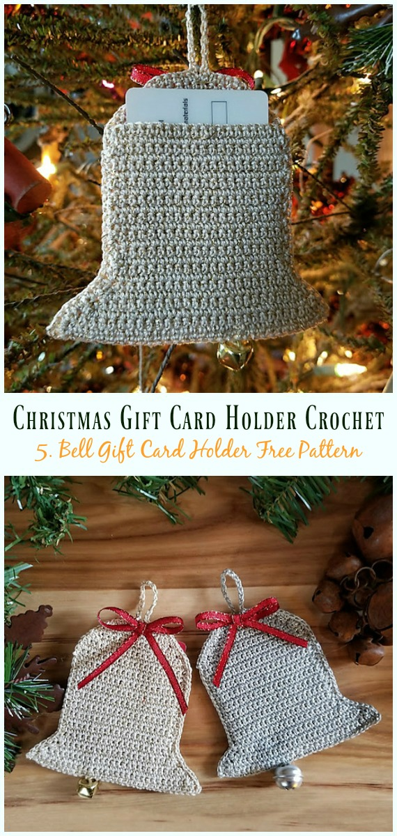 Bell Ornament/Gift Card Holder Free Crochet Pattern - #Christmas; Gift; #CardHolder; #Crochet; Free Patterns