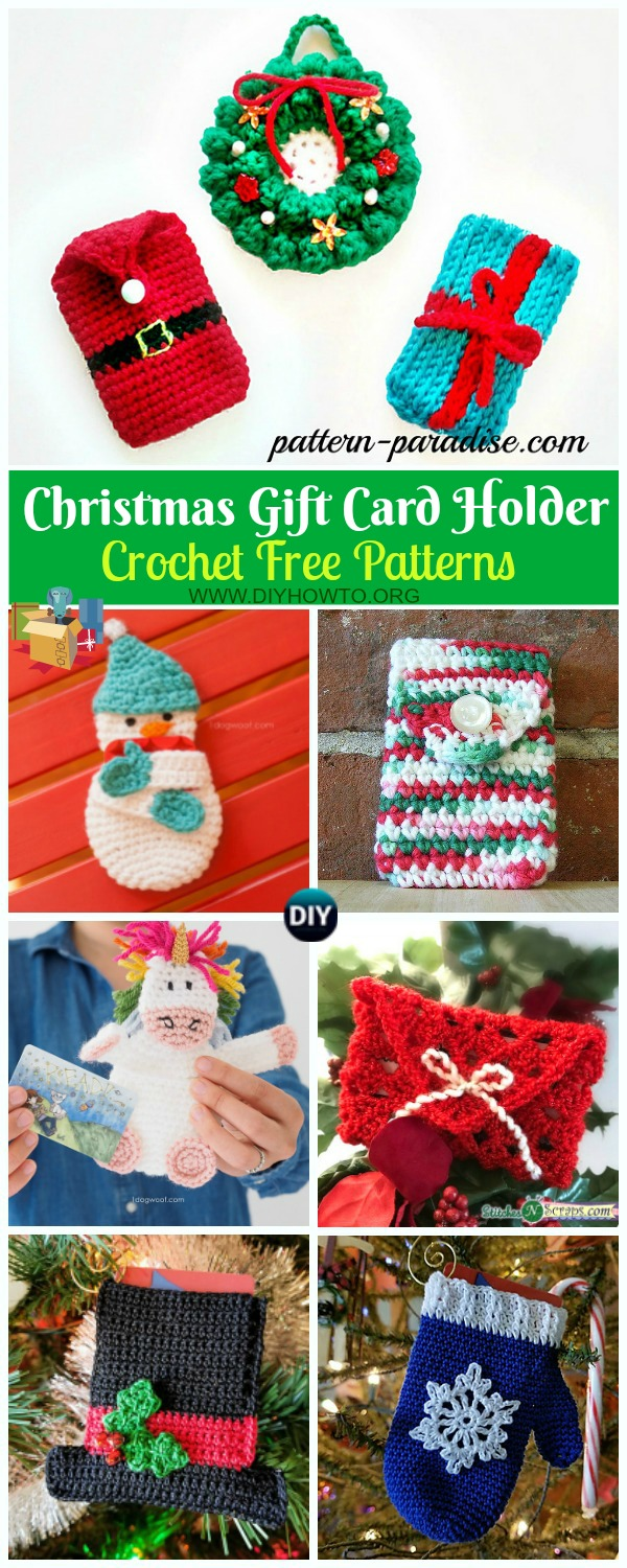 Collection of Christmas Gift Card Holder Crochet Free Patterns: crochet Christmas gift card holder, envelope, Christmas tree ornament, snowman, wreath, bell, mittens...