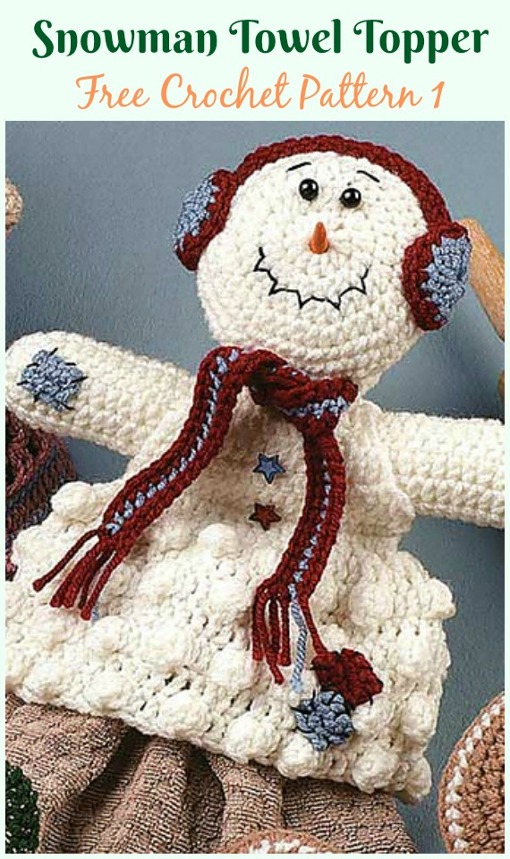 Snowman Towel Topper Free Crochet Pattern Christmas Towel Beauteous Free Crochet Towel Topper Pattern