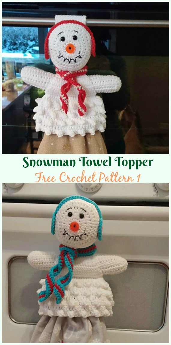 Snowman Towel Topper Free Crochet Pattern - #Christmas; #Towel; Topper #Crochet Free Patterns
