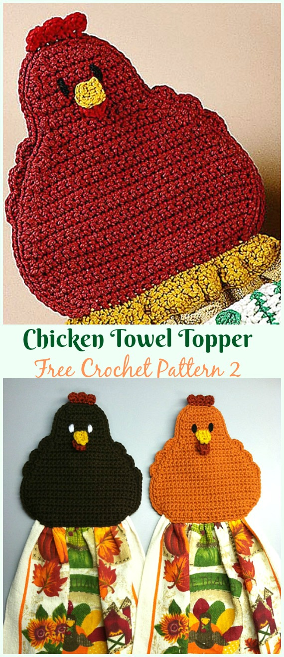 Chicken Towel Topper Free Crochet Pattern - #Christmas; #Towel; Topper #Crochet Free Patterns