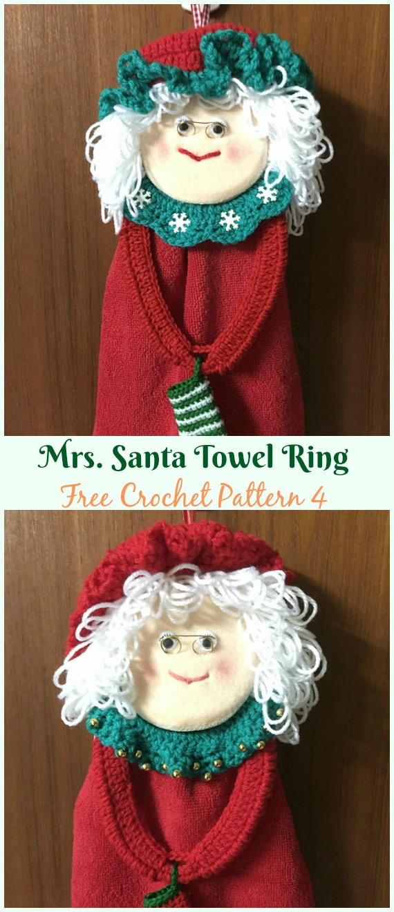 Mrs. Santa Towel Ring Free Crochet Pattern - #Christmas; #Towel; Topper #Crochet Free Patterns