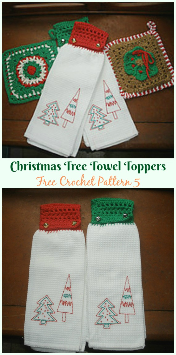 Christmas Tree Towel Toppers Free Crochet Pattern - #Christmas; #Towel; Topper #Crochet Free Patterns