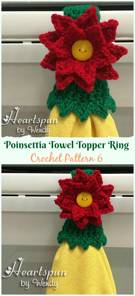Poinsettia Towel Topper Ring Crochet Pattern - #Christmas; #Towel; Topper #Crochet Patterns