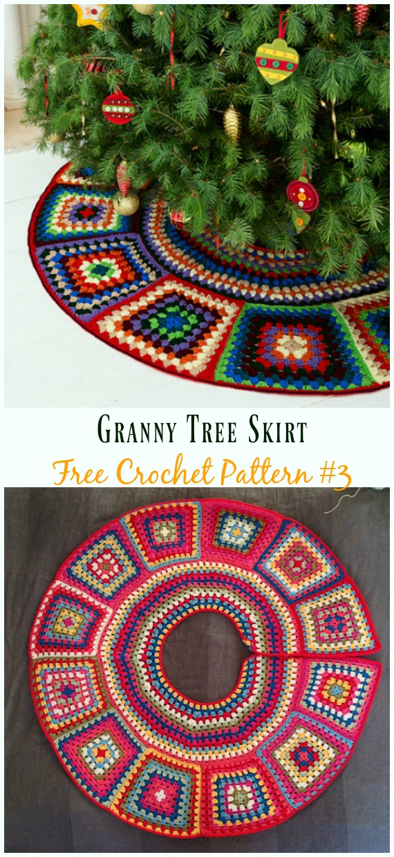 Granny Tree Skirt Free Crochet Pattern - #ChristmasTree; #Skirt; #Crochet; Free Patterns