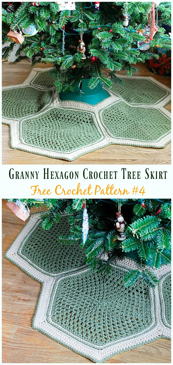 Granny Hexagon Crochet Tree Skirt Free Crochet Pattern - #ChristmasTree; #Skirt; #Crochet; Free Patterns