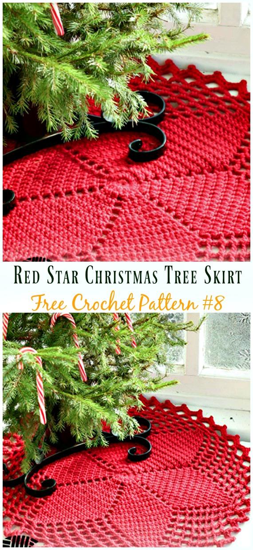 Red StarChristmas Tree Skirt FreeCrochet Pattern - #ChristmasTree; #Skirt;#Crochet; Free Patterns