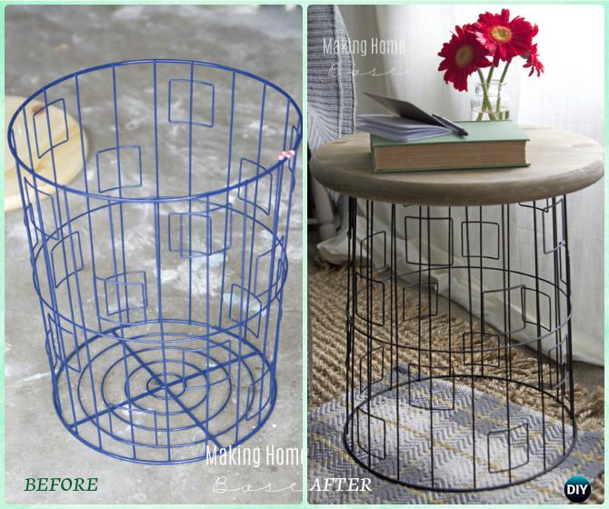 DIY Wire Basket Accent Table Instructions Creative Ways Of Laundry Basket  New Uses