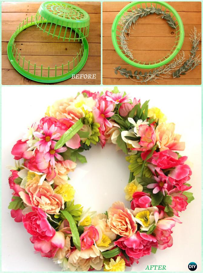 DIY Laundry Basket Wreath Instructions-Creative Ways of Laundry Basket New Uses