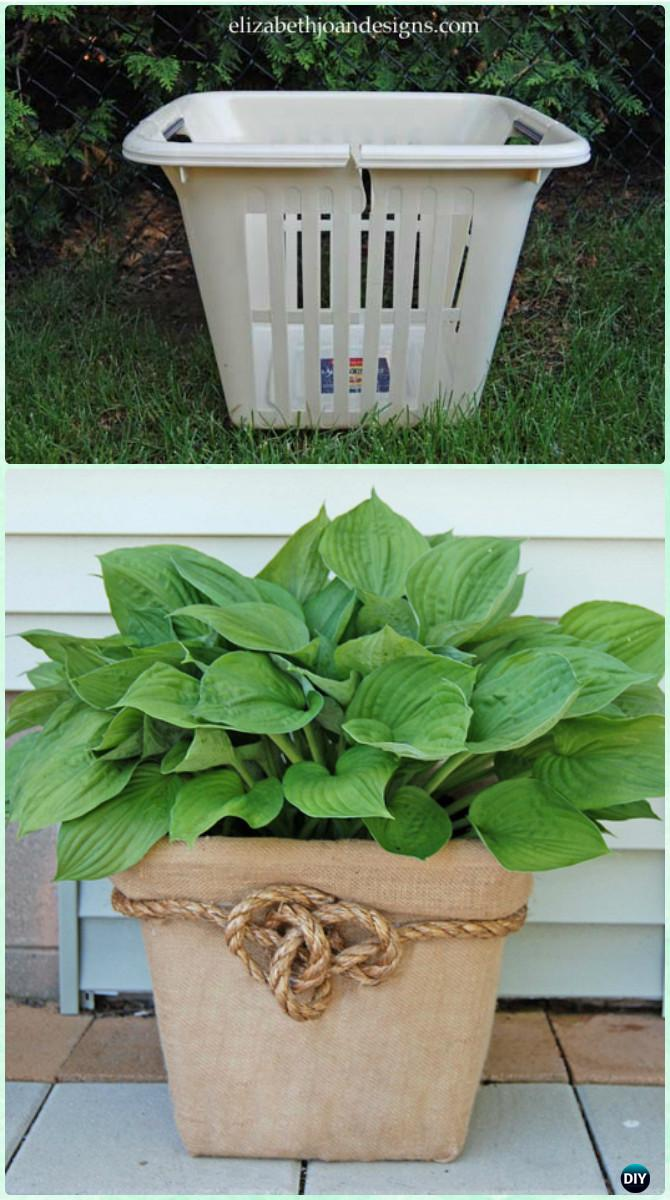 DIY Laundry Basket Planter Box Instructions-Creative Ways of Laundry Basket New Uses