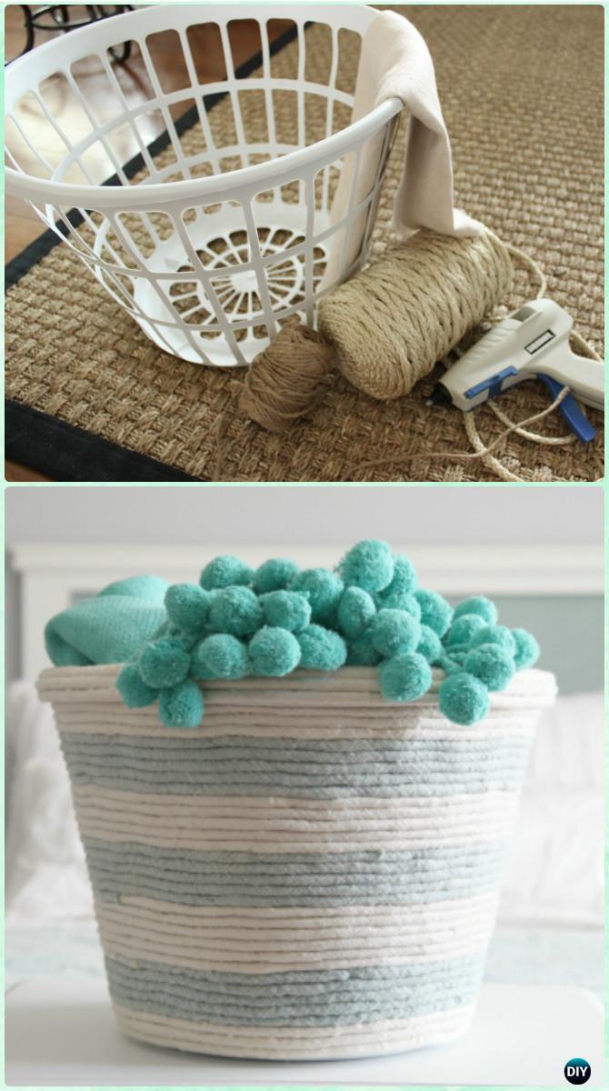 DIY Rope Laundry Basket Organizer Instructions-Creative Ways of Laundry Basket New Uses