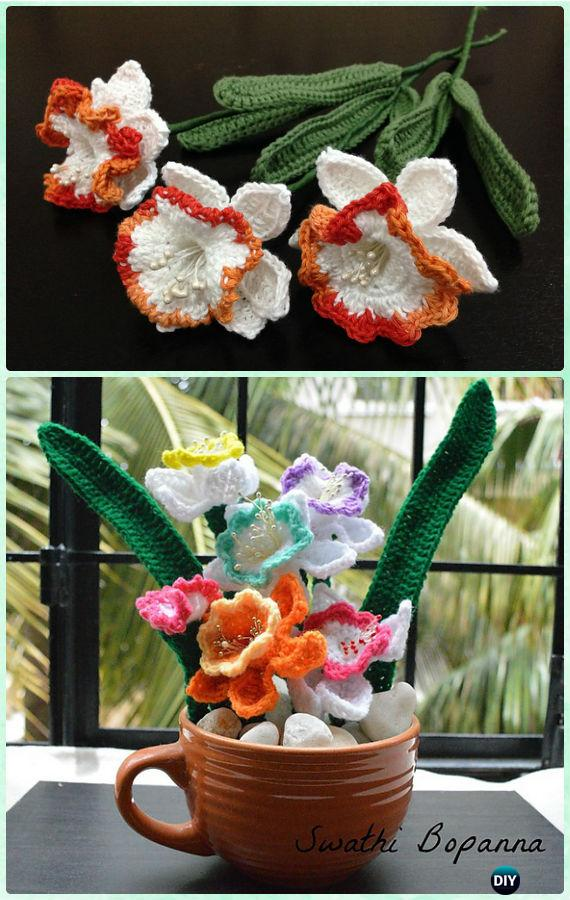 Crochet Daffodils Flower Bouquet Free Pattern-Crochet 3D Flower Bouquet Free Patterns