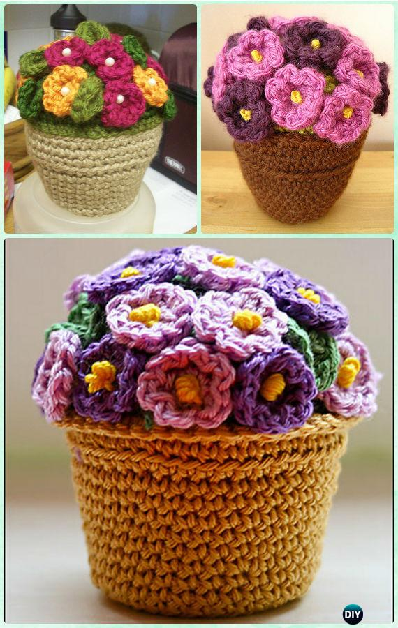 Crochet African violet Flower Pot Free Pattern-Crochet 3D Flower Bouquet Free Patterns