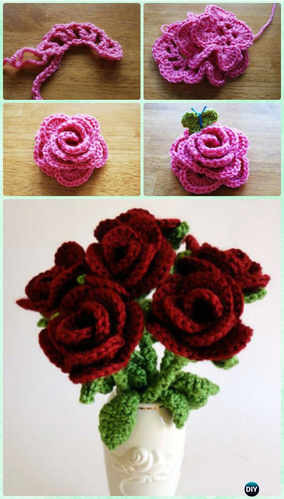 2416f8b9a63 Crochet 3D Flower Bouquet Free Patterns [Picture Instructions]