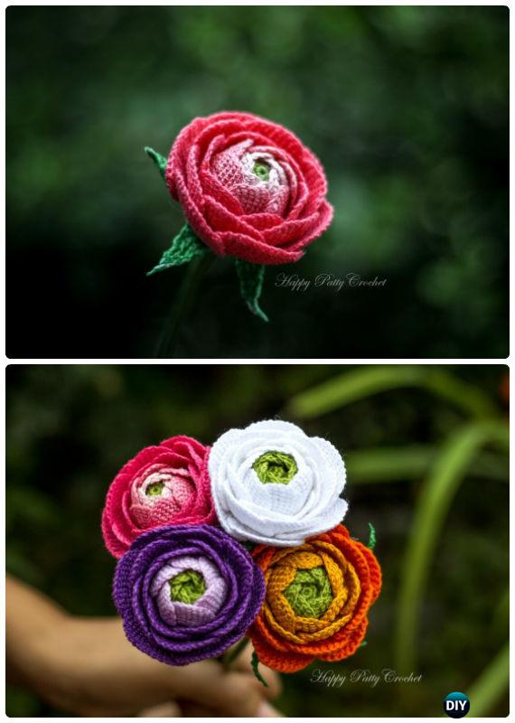 Crochet Rose Flower Bouquet Free Pattern-Crochet 3D Flower Bouquet Free Patterns