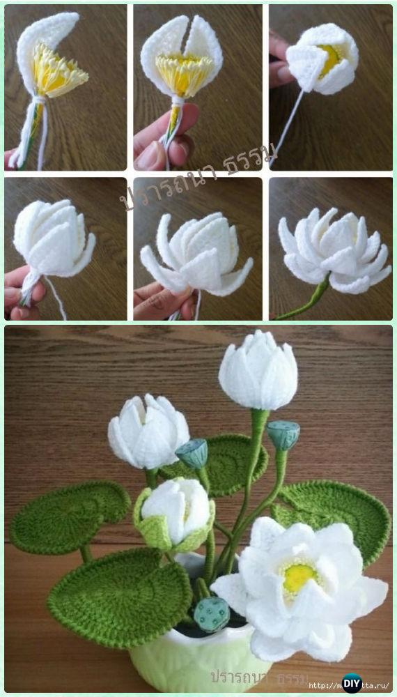 Crochet Water Lily Flower Bouquet Free Pattern Crochet 3d Flower