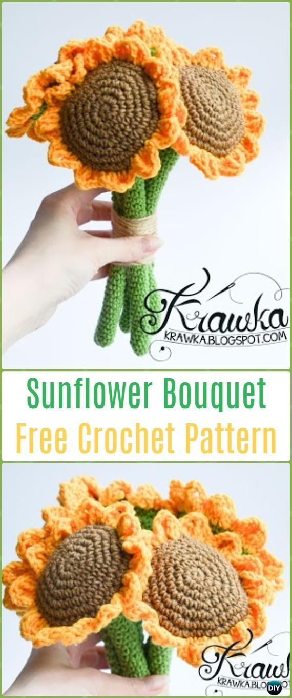 Crochet Sunflower Bouquet Free Pattern-Crochet 3D Flower Bouquet Free Patterns