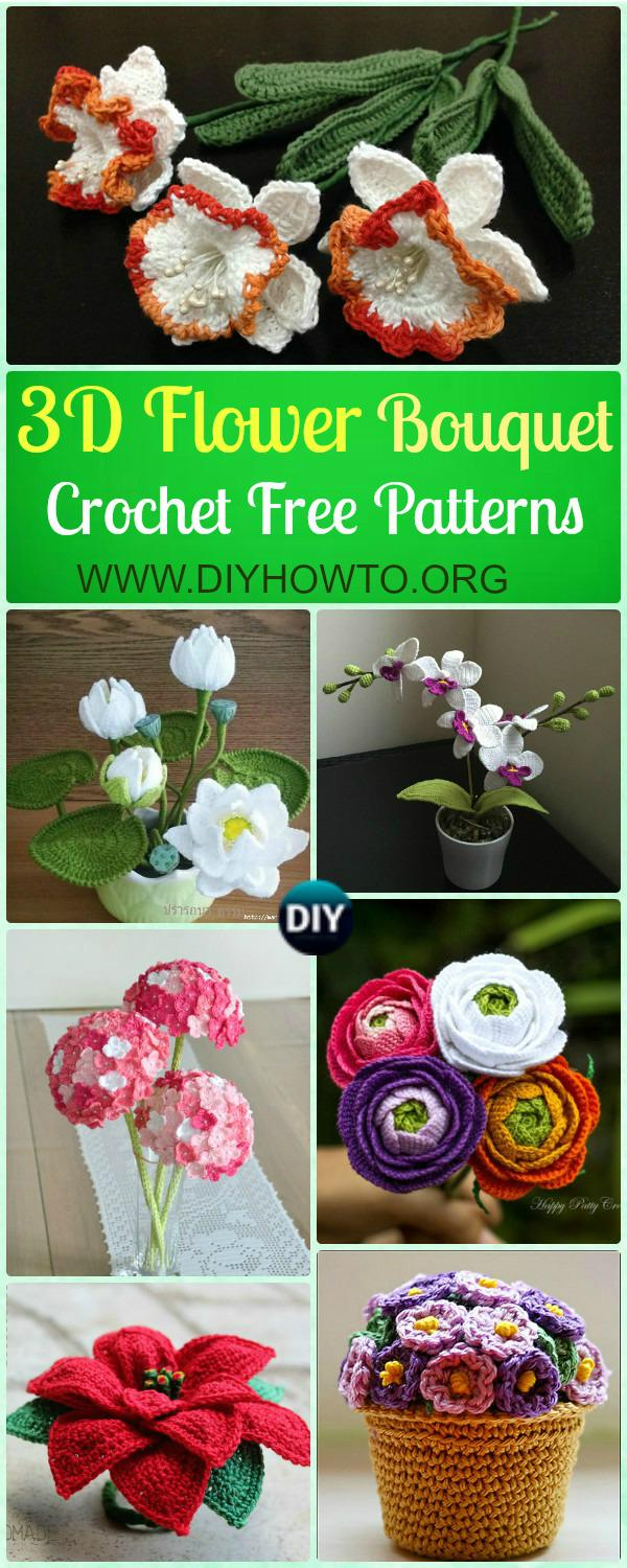 Crochet 3d flower bouquet free patterns picture instructions crochet 3d flower bouquet free patterns rose hydrangea waterlily christmas poinsettia izmirmasajfo