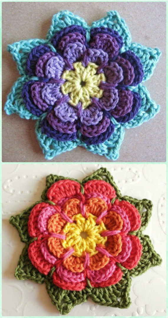 Crochet Pointy Flower Free Pattern - Crochet 3D Flower Motif Free Patterns