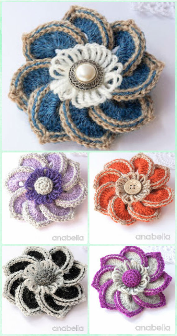 Crochet 3D Flower Motif Free Patterns & Instructions
