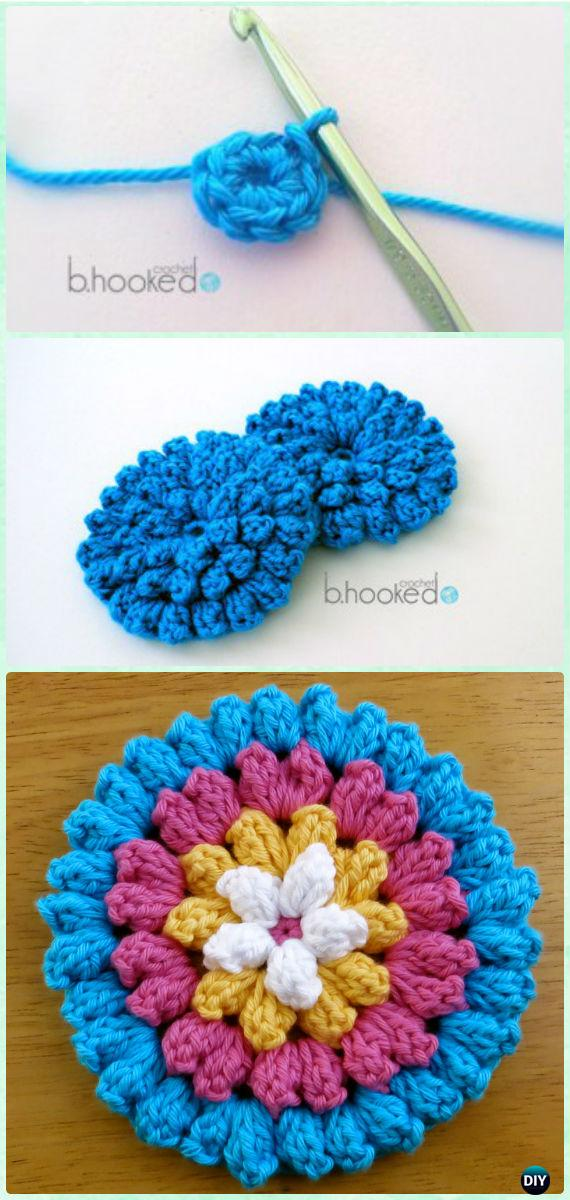 Crochet 3d Flower Motif Free Patterns Instructions
