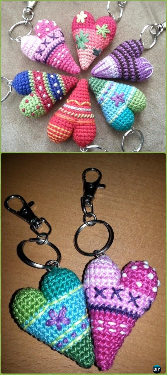 Crochet Heart Keychain Free Pattern- Crochet Heart Amigurumi Free Patterns Instructions