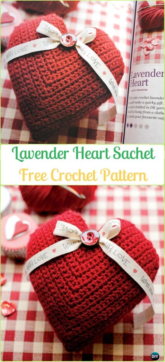 Crochet  Lavender Heart Sachet Free Patterns - Amigurumi Crochet 3D Heart Free Patterns