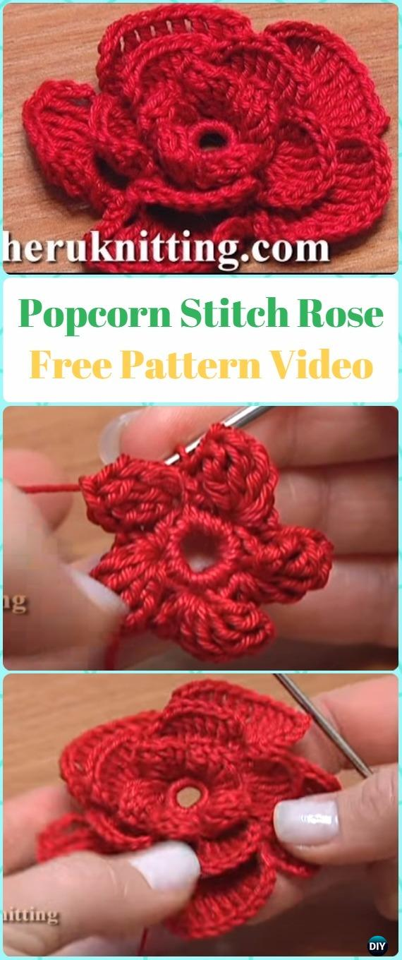 Crochet Popcorn Stitch Rose Flower Free Pattern Video - Crochet 3D Rose Flower Free Patterns